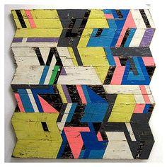Geometric jagged wood sculpture