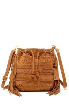 brown suede drawstring bag