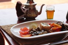 Delcious grilled veggies and Moroccan mint tea @ Terrasse des épices in Marrakech, Morocco