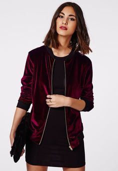This sporty stretch burgundy jacket with contrast ribbed collar and cuffs and a blingin' gold zip is luxe street wear at its best. It doesn't get more on trend for the new season than this velvet touch velour zip up bomber jacket. Style you. Burgundy Bomber Jacket, Velvet Bomber Jacket, Velvet Blazer, Bomber Jackets, Outerwear Jackets, Blazers For Women, Coats For Women, Jackets For Women, Clothes For Women