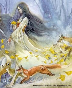 Druids Trees:  A woman running with foxes.  Stephanie Pui-Mun Law.