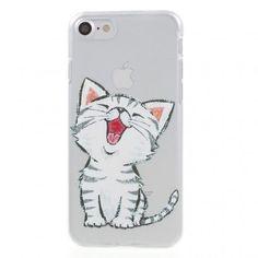 Coque iPhone 7 Cat Loves Apple. Votre iPhone 7 protégé par une coque unique au design d'un chat tout mignon : une solution originale et personnalisée !