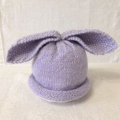 Baby Hat Bunny Wool Baby Hat White Baby Hat Baby by KnittingByEdie