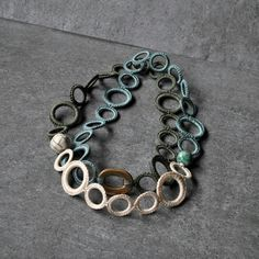 Aliquid Textile Necklace with ceramic raku beads