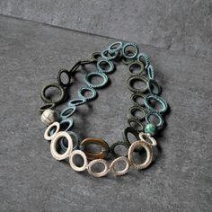 Aliquid Textile Necklace with ceramic raku beads
