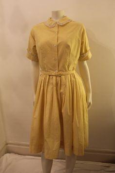 Vintage 1950's  Yellow Plaid Short Sleeve by GeorgetteEtJosephine, $35.00 Tea Length Dresses, Short Sleeve Dresses, Margaret Rose, Research Images, Vintage 1950s Dresses, Yellow Dress, Traveling, Plaid, Shirt Dress