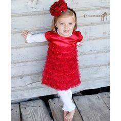 RuffleButts.com - Red Satin Ruffle Dress