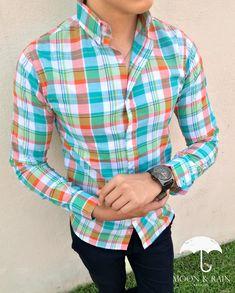 Camisa Slim Fit de cuadros verdes y naranjas exclusiva de Moon & Rain para Tiendas Platino | Ropa de hombre de moda