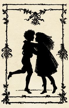 """silhouette of children dancing is also from the book, """"Holiday Fun"""", published by McLoughlin Bros. in 1900. ♥"""