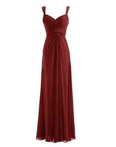 Diyouth Long Spaghetti Straps Bridesmaid Dresses Sweetheart Formal Prom Gowns Burgundy Size 12