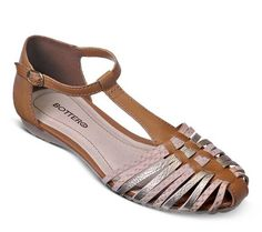 Sandália rasteira de couro com tiras | Sandálias | Bottero Calçados