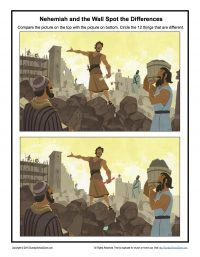 Nehemiah and the Wall Spot the Difference - Children's Bible Activities | Sunday School Activities for Kids