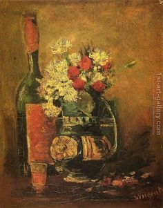 Vase with Carnations and Bottle Vincent Van Gogh Reproduction | 1st Art Gallery
