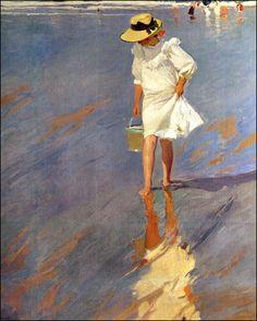 "joaquín sorolla y bastida - ""low tide, elena in biarritz"" (bajamar, elena en biarritz), 1906, oil on canvas."