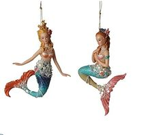Midwest-CBK Beaded Mermaid Ornaments Set of 2 ** Click image for more details. (This is an affiliate link) Beach Christmas Ornaments, Nautical Christmas, Christmas Tree Themes, Merry Christmas, Christmas Time, Christmas Ideas, Holiday Decor, Mermaid Glass, Mermaid Diy