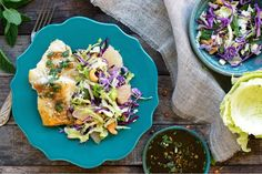 Thai-style cod with cilantro-lime sauce and grapefruit slaw
