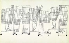 "Ben Shahn, ""Supermarket"" pen & ink, 1957."
