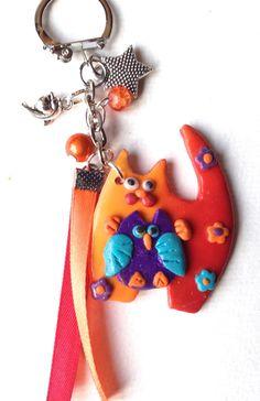 bijou de sac , porte clé série chat orangé de la boutique polymercrea sur Etsy