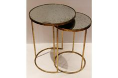 beautiful antique mirror and gold nesting tables in art deco style