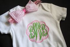 seersucker baby girls scalloped monogrammed by hilarysurratt, $20.00