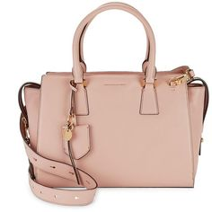 Cole Haan Square Leather Satchel ($380) ❤ liked on Polyvore featuring bags, handbags, pink nude, genuine leather satchel, satchel purses, cole haan satchel, leather purses and leather satchel