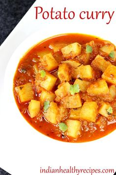 Potato curry or aloo curry recipe stovetop & instant pot instructions. Simple and easy to make. Can be served with rice, bread, pav, chapathi or roti Indian Potato Curry, Indian Potato Recipes, Indian Food Recipes, Indian Foods, Indian Curry, African Recipes, Aloo Curry, Veg Curry, Vegetable Curry