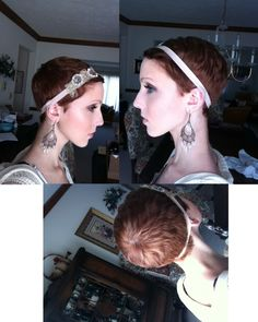 Chic pixie cut with a gorgeous headband and earrings. Gah! So beautiful...