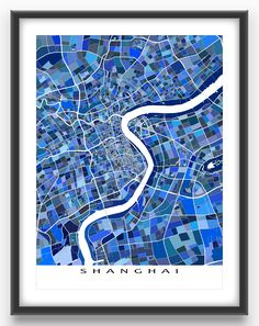 Shanghai map print featuring the central portion of Shanghai China. This Shanghai city map has a modern design made from lots of little blue shapes. Each shape is actually a city block or a piece of land - and these shapes combine like a puzzle or mosaic to form this Shanghai art print. #Shanghai #china #map