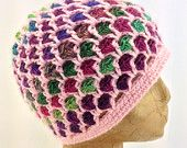 Crochet Pink and Multi-Color Rainbow, Textured, Beanie Hat for Women, Tweens, Teens