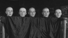 From left: Grand Duchess Anastasia, Grand Duchess Olga, Tsarevich Alexei, Grand Duchess Marie, Grand Duchess TatianaThe children of Nicholas II and Alexandra. This photo was taken in 1917, when measles swept through the imperial palace, and the children's heads were shaved. When their mother saw this photograph, she fainted.