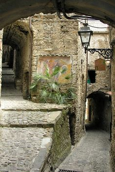 medieval passage ~ Apricale, {Italian Riviera} http://moonlightrainbow.tumblr.com/post/16341887660/medieval-passage#