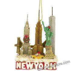 New York City Skyline Landmarks Christmas Ornament