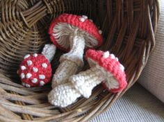 crochet mushrooms. Very pretty