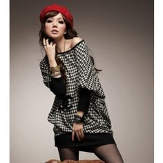 RST-1031-APS - Houndstooth Bat Sleeve Boat neck Dress (as picture shown)