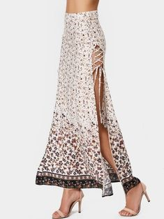 Slit Tiny Floral Lace Up Maxi Skirt