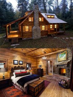 log cabin interior Spectacular Tips to build your rustic log cabin in the woods or next to a creek. Log Cabin Living, Log Cabin Homes, Log Cabins, Small Cabin Designs, How To Build A Log Cabin, Small Log Cabin Plans, Cabins And Cottages, Cabins In The Woods, Cabins In The Mountains