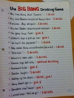Must try this game - The Big Bang Theory Drinking Game