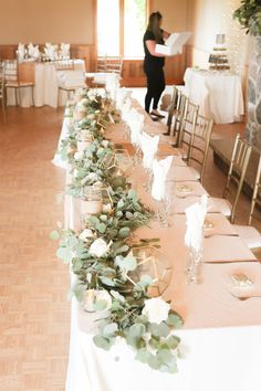 Christina & Ryan's Wedding at the WaterStone Estate & Farms Wedding Top Table Flowers, Head Table Wedding Decorations, Wedding Table Garland, Bridal Party Tables, Head Table Decor, Wedding Centerpieces, Floral Wedding, Head Tables, Tall Centerpiece