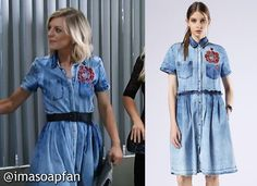 I'm a Soap Fan: Maxie Jones's Blue Denim Dress with Embroidered Red Flowers - General Hospital, Season 54, Episode 08/18/16, Kirsten Storms, #GH #GeneralHospital Fashion