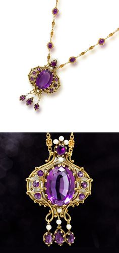 An art nouveau amethyst, enamel and pearl pendant, Marcus & Co., circa 1910  suspending a scrolling pendant with fringe, centering an oval-cut amethyst surrounded by plique-a-jour enamel, accentuated by circular and oval-cut amethysts and white button pearls, within a chased and engraved mount highlighted throughout by scroll and bead motifs; suspended from an associated chain of double cabochon amethyst and scrolling links, pendant signed Marcus & Co.; mounted in eighteen karat gold
