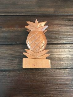 Mid-Century Pineapple Shaped Wood Napkin Holder Made in the Philippines | Pineapple Decor | Pineapple Kitchen | Coastal Decor | Southern
