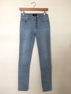 BLACK ORCHID Candice Button Front Ankle Skinny Denim Jeans Light Blue 26 $195 #BlackOrchid #SlimSkinny