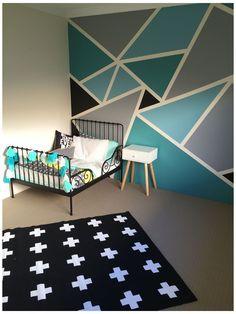 Toddler Bed Frame, Geometric Wall Paint, Living Room Decor, Bedroom Decor, Bedroom Ideas, Bedroom Designs, Nursery Ideas, Project Nursery, Ikea Bedroom