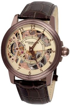 Stuhrling Original Men%27s 228.3365K77 Symphony Saturnalia Brumalia Mechanical Skeleton Brown Watch