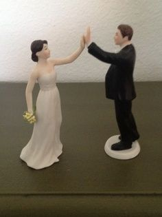 Funny Wedding Cake Topper: High Five between a bride and groom!