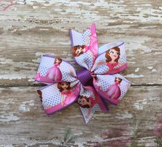 Sofia The First Hair Bow - 3 inches by binspiredbylife on Etsy