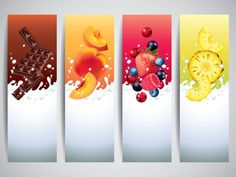 Buy Fruits in Milk Splashes Vector Banners by on GraphicRiver. Fruits and berries in milk splashes vector banners Zip file includes: - editable vector, RGB - jpg, high-resol. Fruit Splash, Milk Splash, Free Vectors, Vector Free, Vector Graphics, Fruit Logo, Fruit Yogurt, Diy Bookmarks, Flyer Design Inspiration