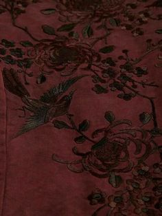 Detailing [flora and birds] on silk kimono jacket, burgundy-plum; by Walid. Posted by VirtualPaperdolls Shades Of Burgundy, Burgundy Wine, Burgundy Color, Burgundy Outfit, Burgundy Hair, Maroon Color, Marsala, Burgundy Aesthetic, By Walid
