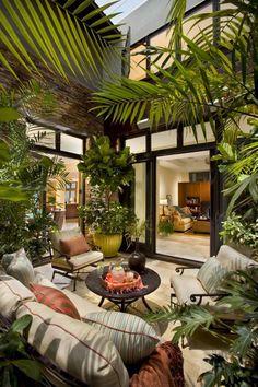 Mobilier de jardin et plantes d'extérieur