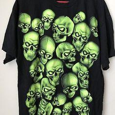 Glow In Dark Skulls Halloween Tshirt Size XL Shirt